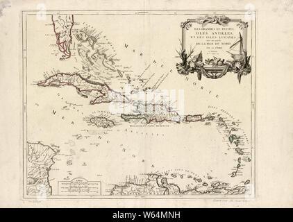 American Revolutionary War Era Maps 1750-1786 574 Les grandes et petites isles Antilles et les isles Lucayes avec une partie de la mer du Nord Rebuild and Repair - Stock Photo