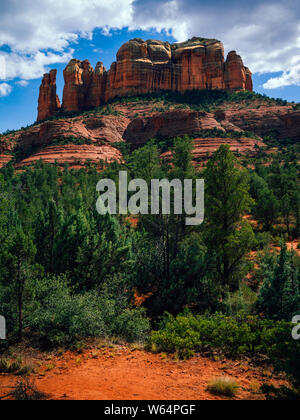 View of Cathedral Rock in Sedona, Arizona in the United States. - Stock Photo