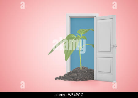 3d rendering of green sprout in white doorway on pink background. Ecology and environment. - Stock Photo