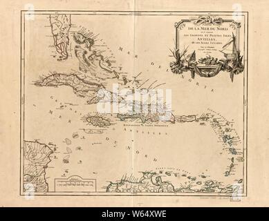 American Revolutionary War Era Maps 1750-1786 649 Partie de la mer du Nord ou se trouvent les grandes et petites Isles Antilles et les Isles Lucayes Rebuild and Repair - Stock Photo