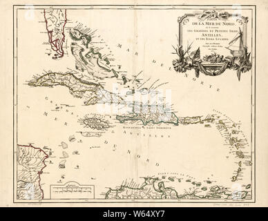 American Revolutionary War Era Maps 1750-1786 650 Partie de la mer du Nord où se trouvent les grandes et petites isles Antilles et les isles Lucayes Rebuild and Repair - Stock Photo