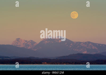 Full moon over lake Chiemsee, july, Gstadt, Bavaria, Germany - Stock Photo