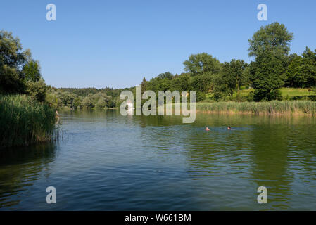 River Alz, july, Truchtlaching, Lake Chiemsee, Bavaria, Germany - Stock Photo