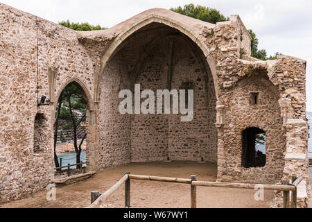 Ruins of a medieval monastery in Tossa de Mar, Catalonia (Spain) - Stock Photo