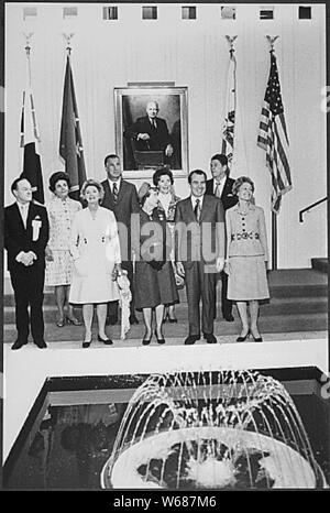 Palm Desert, CA - November 27, 1971 -- Dedication ceremony for the Eisenhower Memorial Hospital, Palm Desert, California. Pictured: Bob Hope, Judy Agnew, Delores Hope, Vice President Spiro T. Agnew, Former First Lady Mamie Eisenhower, Nancy Reagan, U.S. President Richard M. Nixon, California Governor Ronald Reagan, First Lady Pat Nixon. Credit: Jack Kightlinger - The White House via CNP | usage worldwide - Stock Photo