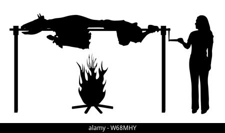 Illustration silhouette of a small woman roasting big bull on spit. Isolated white background. EPS file available. - Stock Photo