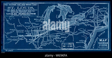 0401 Railroad Maps Map of the Toledo Wabash and Gt Western Rail Road Line and its Inverted Rebuild and Repair - Stock Photo