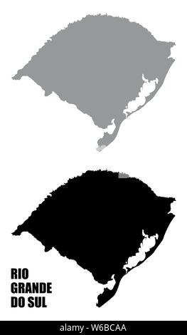 Rio Grande do Sul State silhouette maps isolated on white background, Brazil - Stock Photo