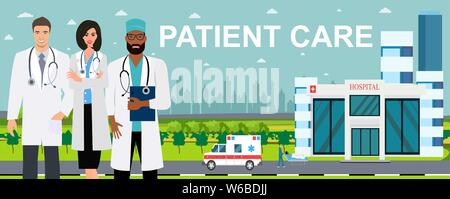 Patient care concept. Vector of doctor team standing on a hospital building, ambulance car background - Stock Photo