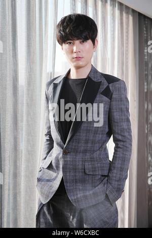 Japanese actor Shotaro Mamiya poses during a promotional event for his movie 'Death Row Family' in Taipei, Taiwan, 31 March 2018. - Stock Photo