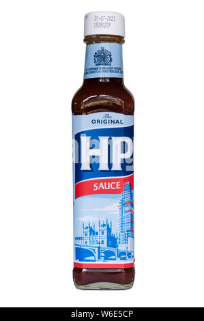 The iconic HP Sauce label has been updated to include the scaffolding currently around the Elizabeth Tower. To celebrate 160th anniversary of Big Ben. - Stock Photo