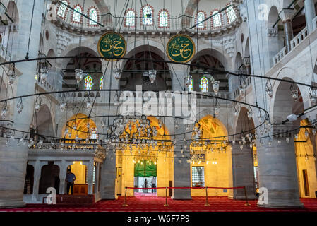 Interior view of Kilic Ali Pasha Mosque that is part of Ali Pasha Complex, built between 1580 and 1587 by Mimar Sinan in Beyoglu,Istanbul,Turkey.25 Ju - Stock Photo
