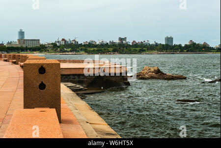The Rambla of Montevideo is an avenue that goes all along the coastline of Montevideo, and also the longest continuous sidewalk in the world, Uruguay - Stock Photo