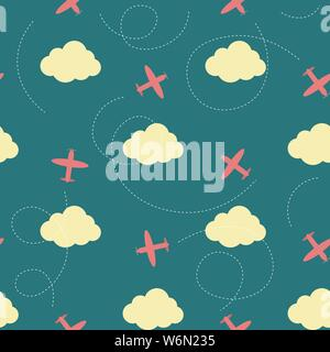 Vector seamless pattern with clouds and planes - Stock Photo