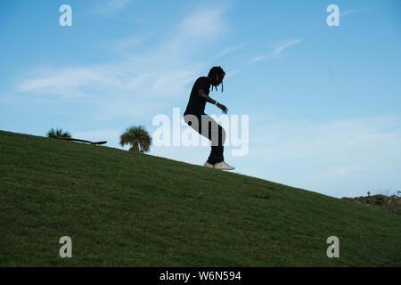 Skateboarder in South Pointe Park - Stock Photo