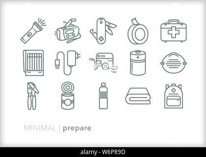 Set of 15 preparedness line icons for emergencies and weather disasters - Stock Photo