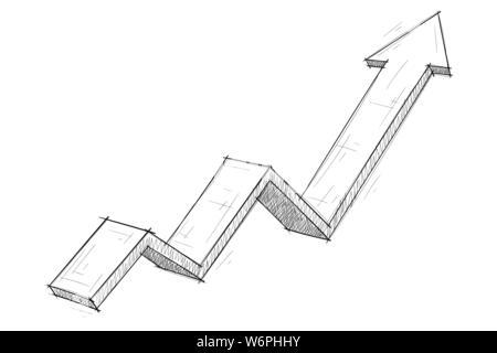 Financial rising arrow. Hand drawn sketch - Stock Photo