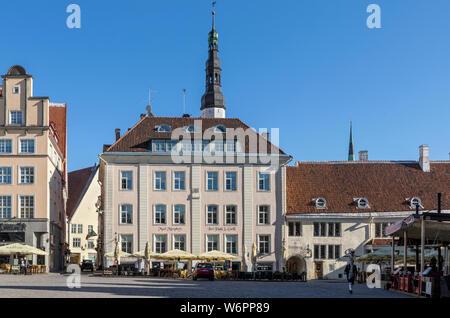 Early morning in Old Town Square, Tallinn, Estonia - Stock Photo