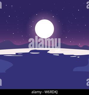 beach sea moon night summer time vacation flat design vector illustration - Stock Photo
