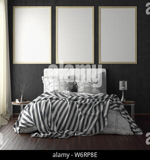 Three vertical poster frame mockups above the bed on black wall in bedroom. Soft morning light through the curtain. 3d illustration - Stock Photo