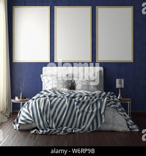 Three vertical poster frame mockups above the bed on blue wall in bedroom. Soft morning light through the curtain. 3d illustration - Stock Photo