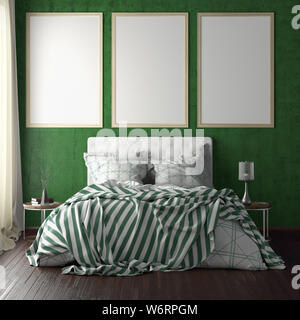 Three vertical poster frame mockups above the bed on green wall in bedroom. Soft morning light through the curtain. 3d illustration - Stock Photo