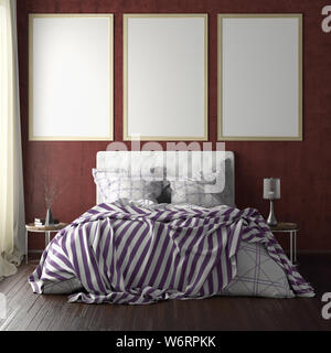 Three vertical poster frame mockups above the bed on red wall in bedroom. Soft morning light through the curtain. 3d illustration - Stock Photo