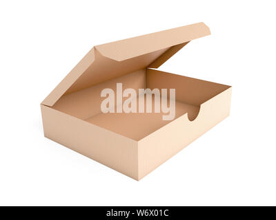 Flat brown paper box. Open carton. 3d rendering illustration isolated on white background - Stock Photo
