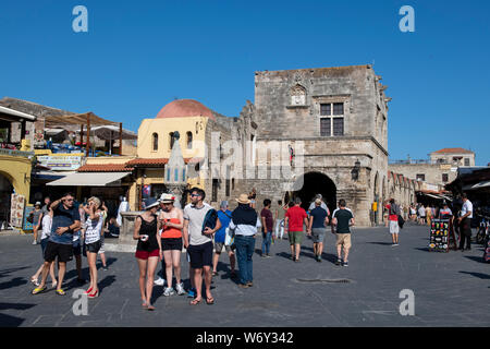 Greece, Rhodes, the largest of the Dodecanese islands. Medieval Old Town, Evreon Martyron Square, Jewish Quarter, aka Sea Horse Square. UNESCO - Stock Photo