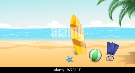 Summertime water sports flat vector illustration. Scuba diving flippers, snorkelling goggles on sandy beach. Extreme water sports, surfing equipment on blue sea waves and palm trees background - Stock Photo