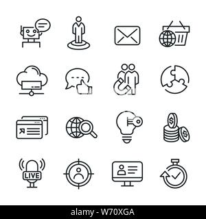 Vector icons set of seo and marketing. - Stock Photo