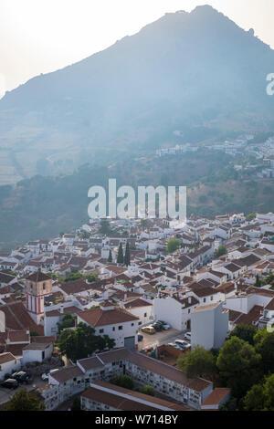 The ancient Pueblo Blanco, or white village of Gaucin, Andalucia, Spain - Stock Photo