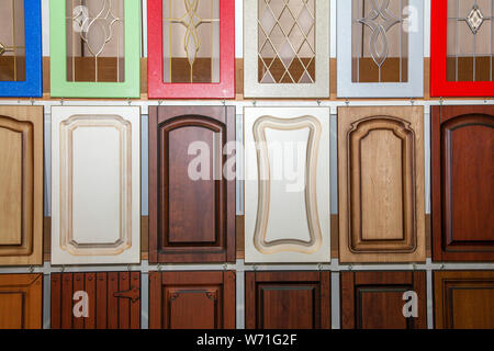 collection of new colorful wooden doors, repair concept - Stock Photo