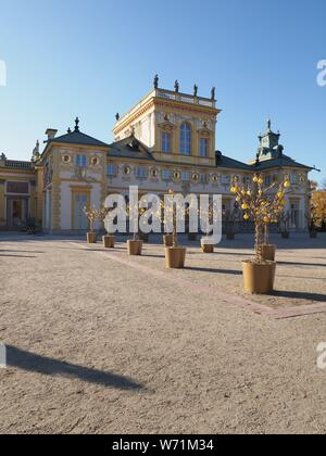 Main courtyard and exterior of palace in european Warsaw capital city of Poland in 2018 on October - vertical - Stock Photo