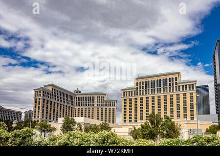 Las Vegas Nevada, USA. May 27, 2019. Las vegas buildings in the morning. Sunny spring day, blue sky - Stock Photo