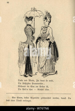 German cartoon of two women talking, 19th Century - Stock Photo
