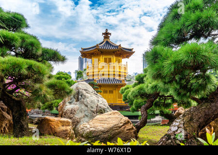 Golden Pavilion in Nan Lian Garden near Chi Lin Nunnery temple, Hong Kong. - Stock Photo