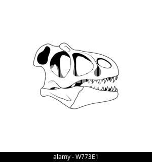 Vector illustration of dinosaur skull. Velociraptor skull - Stock Photo