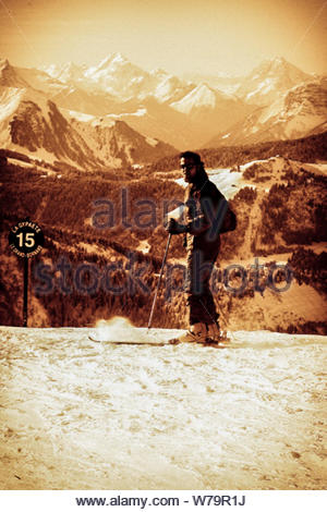 Le Grand Bornand, France - January 15, 2008: Skier on the snow top in old style - Stock Photo