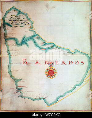 Map of Barbados, 1683. Artist: Unknown - Stock Photo