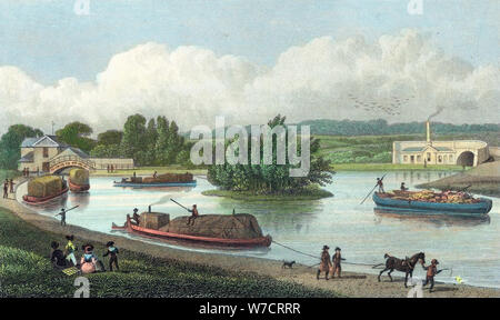 Junction of Regent's Canal at Paddington Basin, London, 1828. Artist: Unknown - Stock Photo
