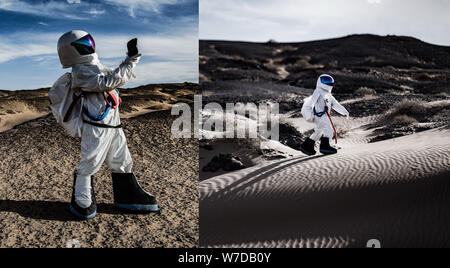 Zhao Pu, a post-85 Chinese man from Xingtai of Hebei province, dressed in a spacesuit he bought from an online shop, poses for photos in a Gobi Desert - Stock Photo