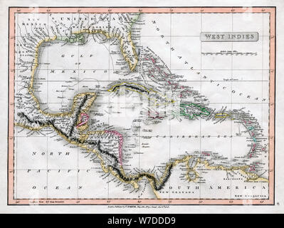 A map of the West Indies, 1808.Artist: C Smith - Stock Photo