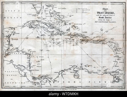 Chart of the West Indies, with the adjacent Coast of South America, 1830. Artist: J&C Walker - Stock Photo