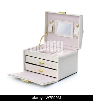 Open empty leather jewelry box on white - Stock Photo