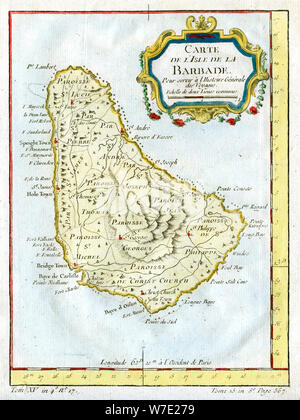 Map of Barbados, c1764. Artist: Unknown - Stock Photo