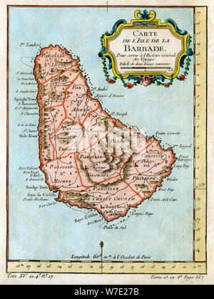 Map of Barbados, c1758. Artist: Unknown - Stock Photo