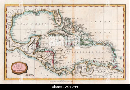 Map of the West Indies, 18th century(?).Artist: Barlow - Stock Photo