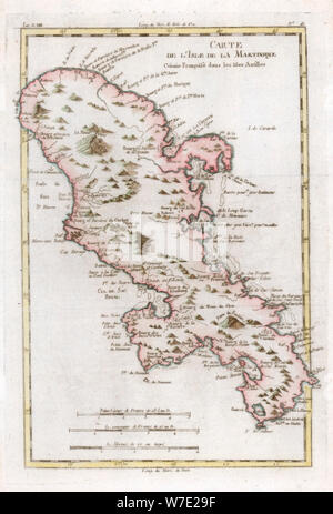 Map of the Caribbean island of Martinique, c1783. Artist: Unknown - Stock Photo