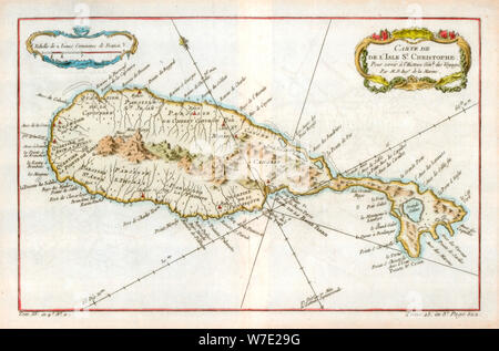 Map of the Caribbean island of St Christopher, c1764. Artist: Unknown - Stock Photo